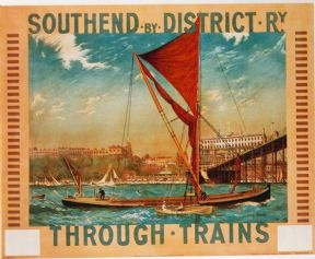Vinatge London underground poster - Southend by District Railway, by Charles Pears, 1915